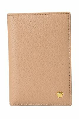 Versace Men's 100% Leather Beige Bifold Card Holder