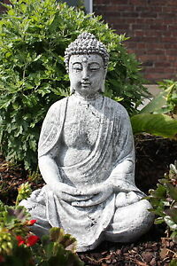 Steinfigur großer Buddha Shiva Frostfest Garten Deko Steinguss Buddah groß gross