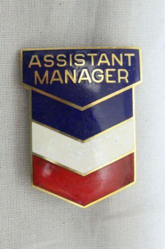 Vintage Chevron GAS Station ASSISTANT Manager Cloisonne Hat Badge Cap Pin RARE