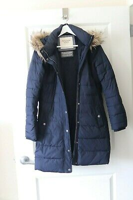 ABERCROMBIE & Fitch Navy Blue DOWN WINTER JACKET COAT PARKA - Large - EXCELLENT
