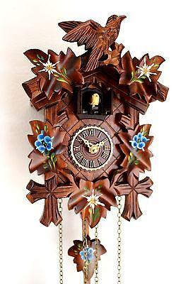 Schwarzwälder Kuckucksuhr geschnitzt Quarz Uhr mit Edelweiss Enzian bemalt NEU