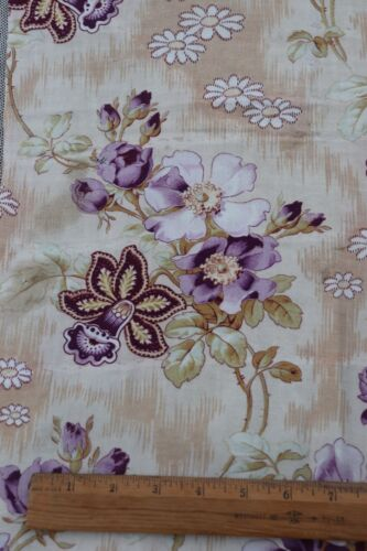 """Antique 19thC French Lavender Floral Printed Fabric~L-23"""" X W-16"""""""