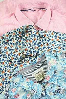 SALE Boden 3 Set Herren Hemden  +  Hemd Blumen Motiv  - Blau Kariert+ Urlaub  L