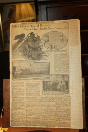Antique 1910 Newspaper Clippings Railraod Train Mile-A-Minute Boston Crack Flyer