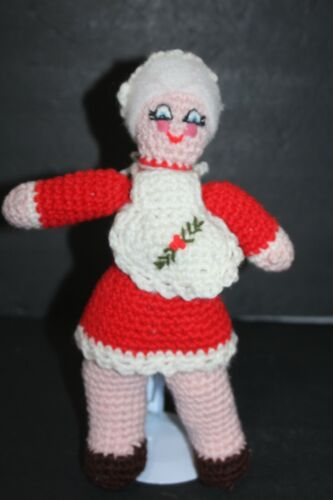 Vintage Mrs. Clause Doll Hand Knitted Crafted Santa