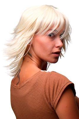 Perücke Damen Cosplay kurz wild Strähnen strähnig 80er - Platin Blonde Perücke