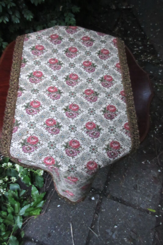 Lovely Vintage Brocade Table Runner from Belgium  Brocade Trim Top Condition
