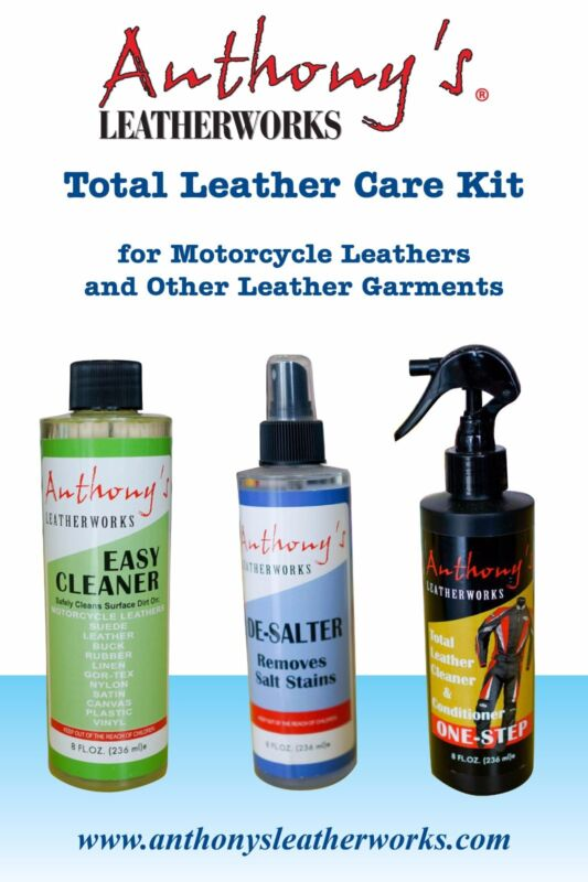 Anthonys Leather Cleaner Conditioner Leather Care Kit for Motorcycle Leathers