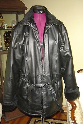BLACK Leather Winter Coat Jacket Size M Zipper Hood Collar Lined FAUX FUR BELTED