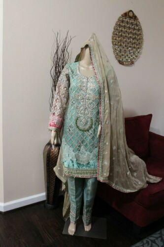 Pakistani  Sea Green Straight Shirt Net Suit with Fancy Threadwork