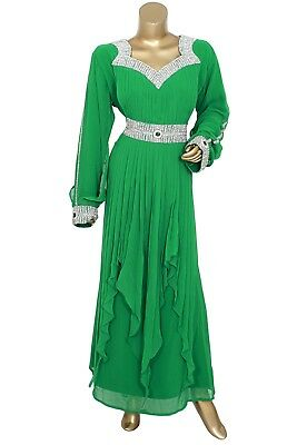 Green Embroidered Crystal Embellished Traditional Georgette Kaftan Abaya Caftan