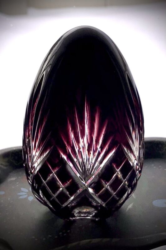 """Magda Nemeth Ajka Crystal Cut to Clear Ruby Red Oval Egg 4"""" Signed and Numbered"""