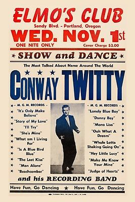Country: Conway Twitty at Portland Oregon Concert Poster 1961  12x18