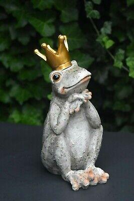 Frog Prince GOLD CROWN Figure Gardens Flower/Water Feature Indoor-Outdoor Office