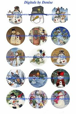 Christmas Snowman B 1  Circles Bottle Cap Images   2 45  5 50    Free Shipping