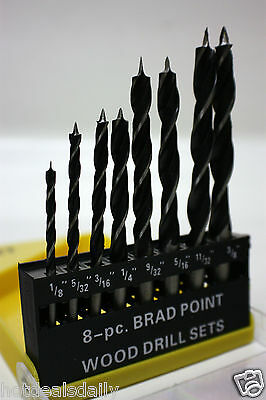 8 Pc Set Brad Point Wood Drills 1 8 5 32 3 16 1 4 9 32 5 16 11 32 3 8  Twist New