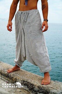Mens Hemp Harem Pants Grey Hippie Yoga Plain Aladdin Martial Arts Baggy Festival