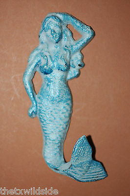 (6), CAST IRON, AQUA,MERMAID, WALL HOOKS, BATH, POOL, COASTAL DECOR, TOWEL RACK