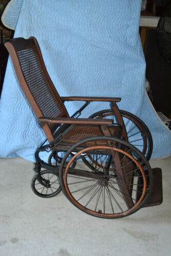 Cast Iron Oak Wood Wicker potty Wheel Chair  Antique Vtg Victorian