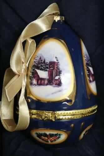 "NEW Valerie Parr Hill Musical Navy Blue w/ Bells Egg Ornament ""Joy to the World"""