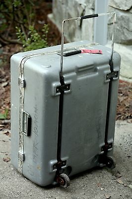 Hinged Hard Plastic Shipping Storage Case With Self-storing Handle And Wheels