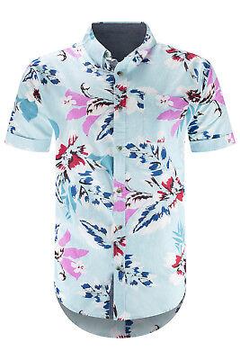Button-up-shirt (Men Button Up Shirt Blue Flowers Collar Print Short Sleeve Sizes S-XL)