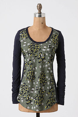 Anthropologie Tee Tunic Top Leopard Print Long Sleeve By Ella Moss Size XS
