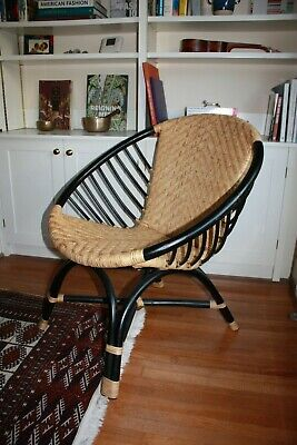 La Redoute bamboo and wicker chair - black and natural RRP £235