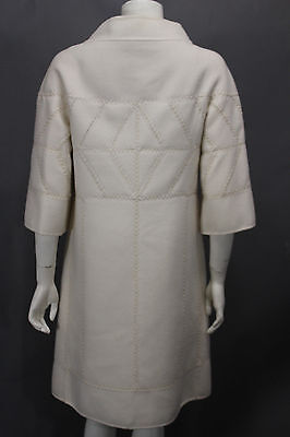 J. Mendel Paris Women Off White Cream Wool + Cashmere Oversized Coat Jacket 10