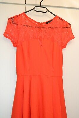 Kleid Damen orange rot Sommer skinny sexy Gr. XS S 32 34 tally Spitze