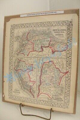 ORIGINAL ANTIQUE MAP NEW GRANADA VENEZUELA GUIANA PERU ECUADOR 1872 ARGENTINE CO