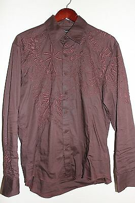 Mens 7 Diamonds Brown Chocolate Woven Floral Sz L Button Down Dress Shirt GQ EUC Button Down Chocolate Apparel