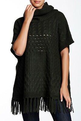 Autumn Cashmere Cashmere Poncho (NEW Autumn Cashmere Turtleneck Fringe Poncho in Black- Size O/S)
