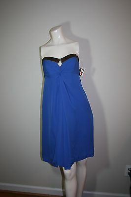 nicole miller collection silk blue strapless brass sequins built in bra 6 Nicole Miller Bras