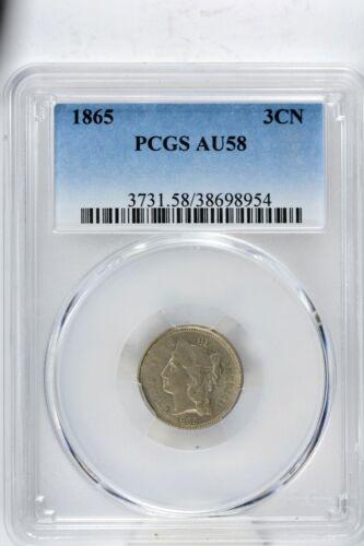 1865-P Three Cent Nickel PCGS AU58 Choice MS/UNC Coin