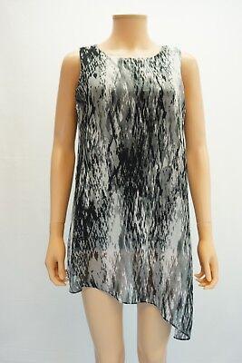 (Joseph A Womens Top Asymmetrical Hem Sleeveless Scoop Neck Gray Print Blouse $50)