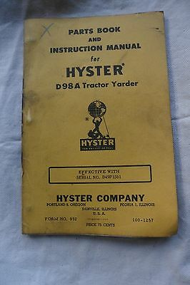 Hyster D98a Towing Winch Parts Book Instruction Manual Tractor