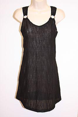 J. Valdi Swimsuit Cover Up Dress Size M Black Sleeveless
