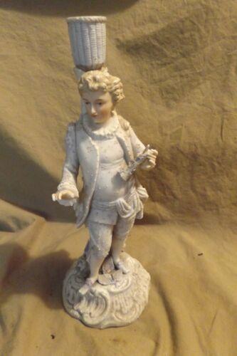 "Antique ~11"" Porcelain Figural Candlestick 19th Century Missing Fingers"
