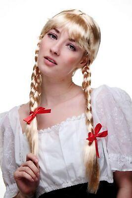 2 Perücke (Perücke mit 2 seitlichen Zöpfen blond Frau Antje aus Holland Alm-Mädchen Wig NEU)