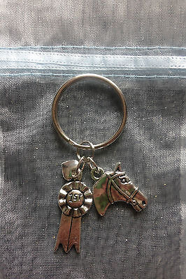 Horse Head, 1st Rosette & Heart Charms Keyring Equestrian Pony Rider Gift
