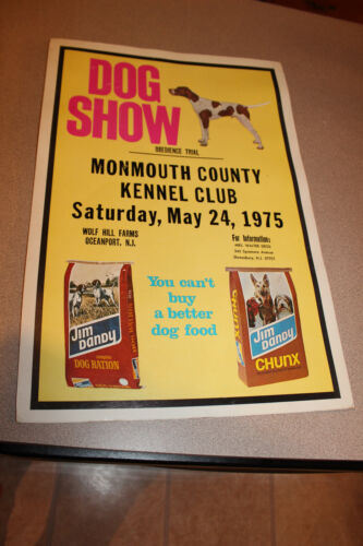 Vintage 1975 Monmouth County Kennel Club Dog Show Poster Jim Dandy Dog Food
