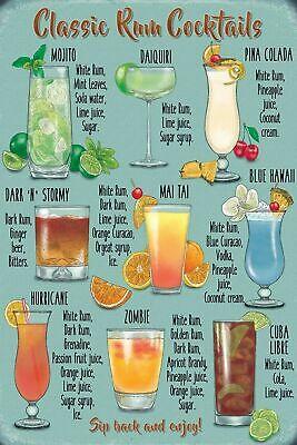Rum Cocktails Menu Recipe Vintage Retro Style Metal Sign, bar, pub, man cave