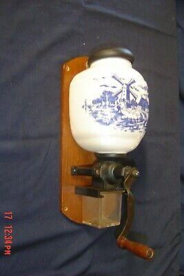 Vintage Wall Mount Coffee Grinder Windmill Porcelain Wooden
