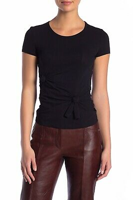 $220 Helmut Lang Women's Techno Knot Baby Tee In Black Size S