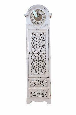 Standuhr massivholz Tanne Nostalgie Vintage used look antik weiß lackiert design