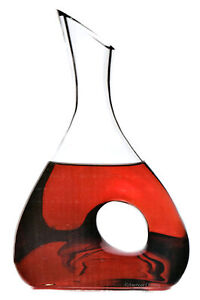 Elegant 38 oz Large Modern Blown CLEAR Glass Wine Carafe / Water Jug w/ Gift Box