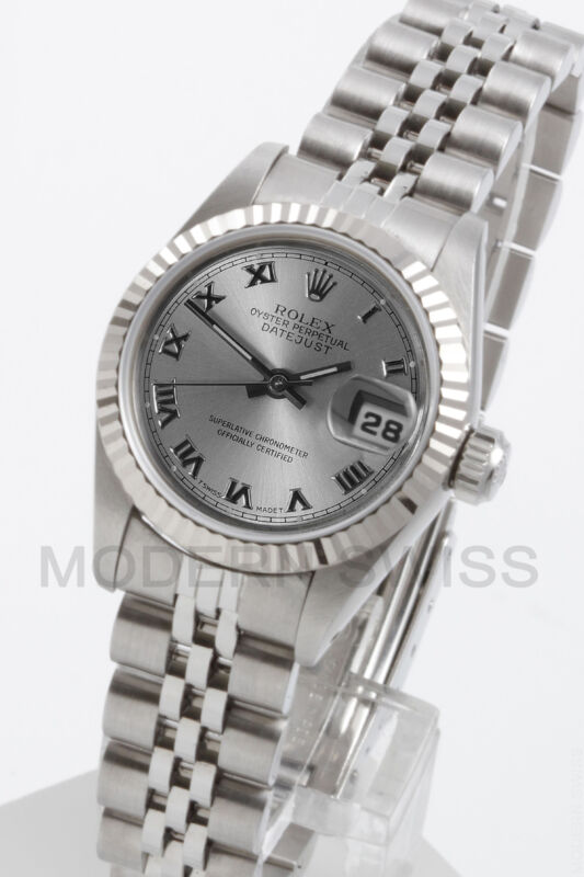 Rolex Ladies Datejust Steel Silver Roman 18k Gold Fluted Jubilee 69174 Quickset