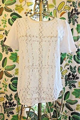 Equipment White Eyelet Crochet Lace Sheer T-Shirt Tee Blouse Shirt Size XS for sale  Shipping to Canada