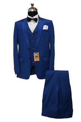 Hombre Azul Trajes Diseñador Boda Novios Cena (Chaqueta +Camiseta+Pantalones